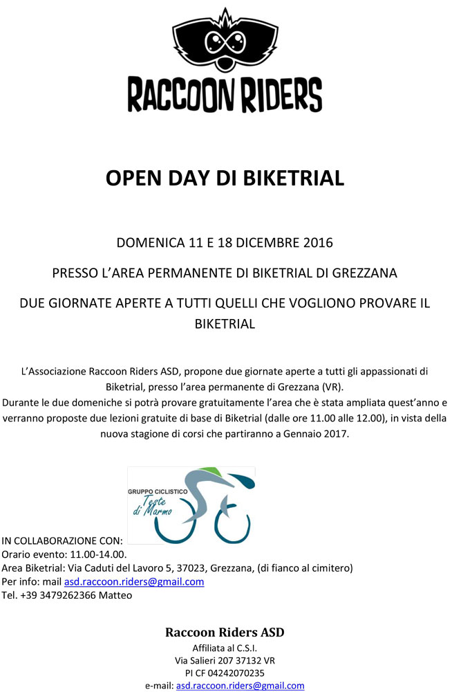 Open Day Grezzana verona Biketrial Raccoon Riders ASD